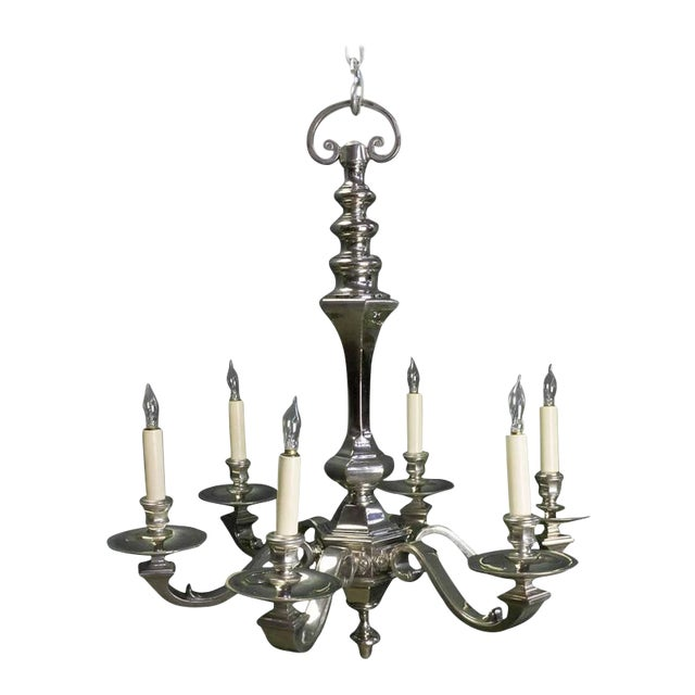 1940s French Nickel Plated Bronze Six-arm Chandelier For Sale