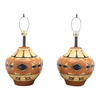Pair of Large Vase Onion Shape Art Pottery Bases Table Lamps For Sale