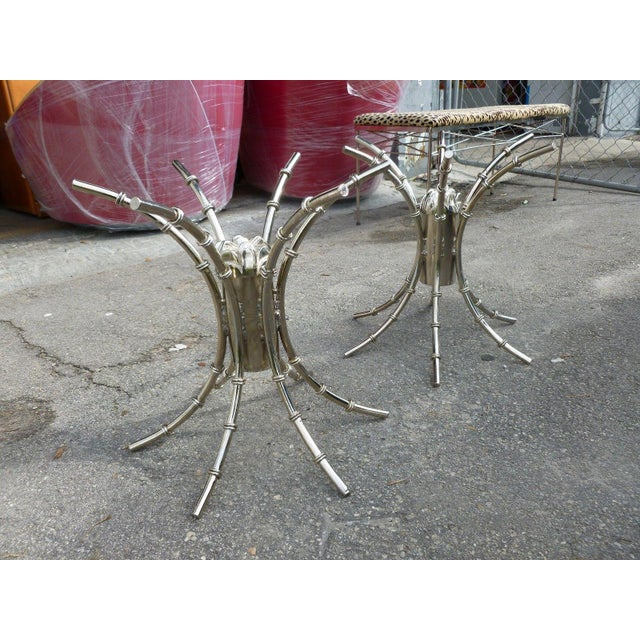 Hollywood Regency 1970's Mid-Century Modern Chromed Artichoke Bamboo Table Bases - a Pair For Sale - Image 3 of 11