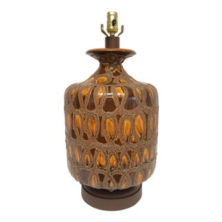 Mid-Century Brown & Gold Ceramic Lamp on Wood Base For Sale
