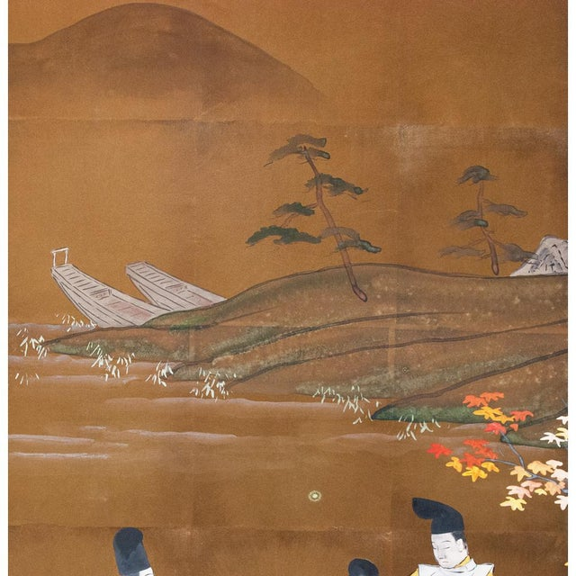 Blue 1920s Japanese Four Panel Byobu Screen For Sale - Image 8 of 13