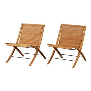 """Pair of Peter Hvidt & Orla Mølgaard-Nielsen """"Model 6103 X-Chairs"""" for Fritz Hansen For Sale"""
