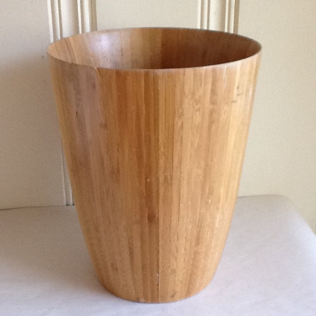 Bamboo Wood Waste Basket For Sale - Image 5 of 8