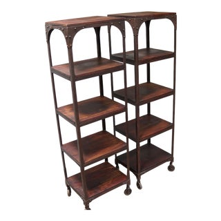 Forged Iron Walnut Shelved Etageres - A Pair For Sale