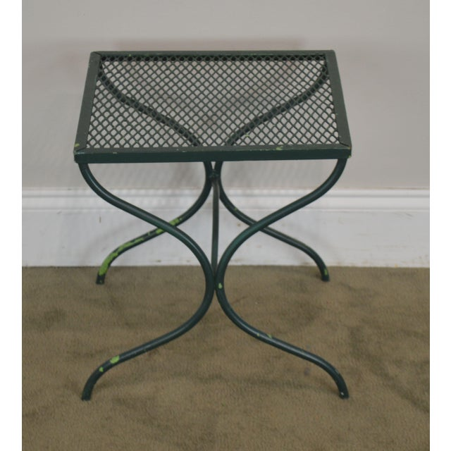 Salterini Vintage Expanded Metal Wrought Iron Pair X-Base Patio Side Tables For Sale In Philadelphia - Image 6 of 13