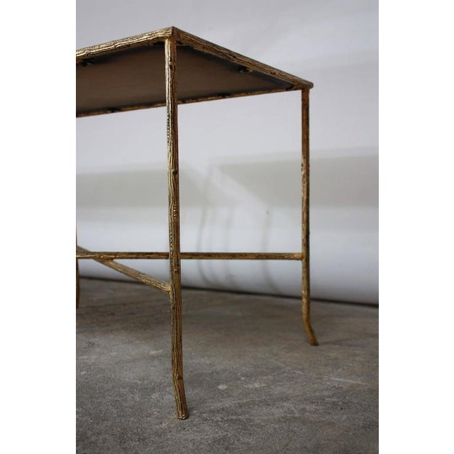 Pair of Italian Gilded X-Base Side Tables with Mirror Tops - Image 6 of 10