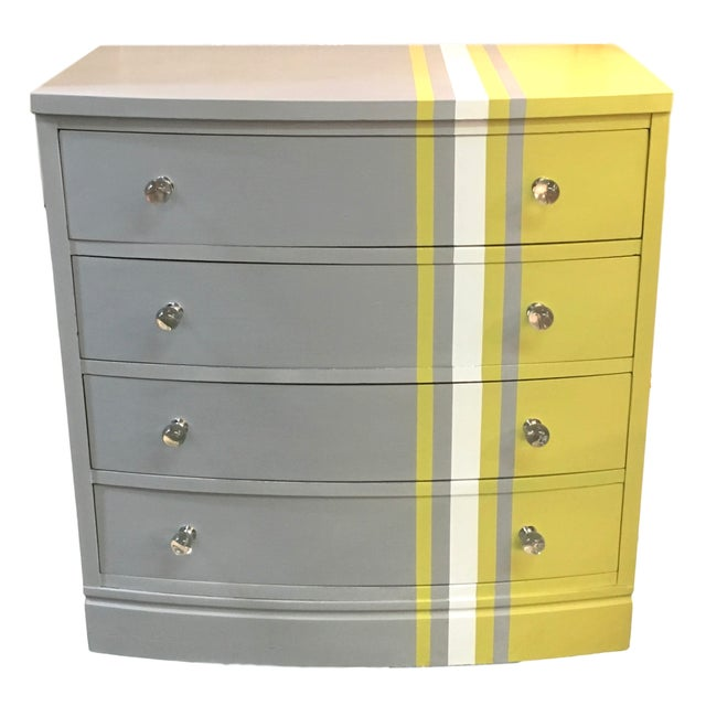 Grey & White Striped Chest of Drawers - Image 1 of 6