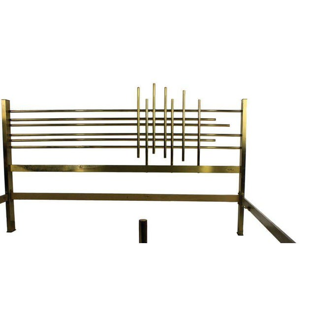 An Italian Modernist double bed of fine quality in steel and brass, of good weight. By Pulli. Note we can have a bespoke...