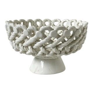 Italian Woven Rope White Ceramic Compote For Sale