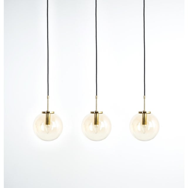 Gold Set of Three Limburg Amber Glass Pendant Lamps, Germany, 1970 For Sale - Image 8 of 8
