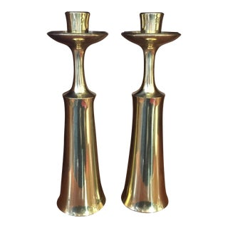 Jens Quistgaard for Dansk Danish Modern Brass Candlesticks - A Pair
