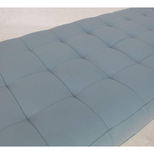 Blue Tufted Light Blue Upholstery Chrome Cylinder Legs Long Bench Almost Daybed For Sale - Image 8 of 9