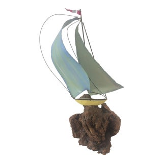 Mid-Century Brass on Burl Wood Sail Boat For Sale