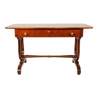 Vintage Mahogany Burl Wood Writing Desk or Console Table For Sale