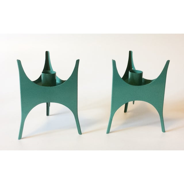 MCM Teal Metal Candlesticks - A Pair - Image 2 of 5