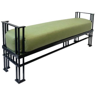 Italian Post Modern Green Leather Bench For Sale