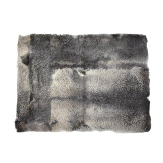 "Sheepskin Rug Rectangle Handmade Dark Gray 2'6""x3'5"" For Sale"