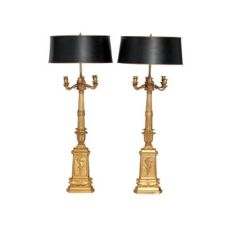 A PAIR OF FRENCH EMPIRE PERIOD CANDELABRA CONVERTED INTO LAMPS For Sale
