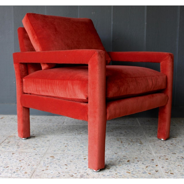 Reupholstered 1970s Mid Century Persimmon Velvet Milo Baughman Club Chair - Image 2 of 7