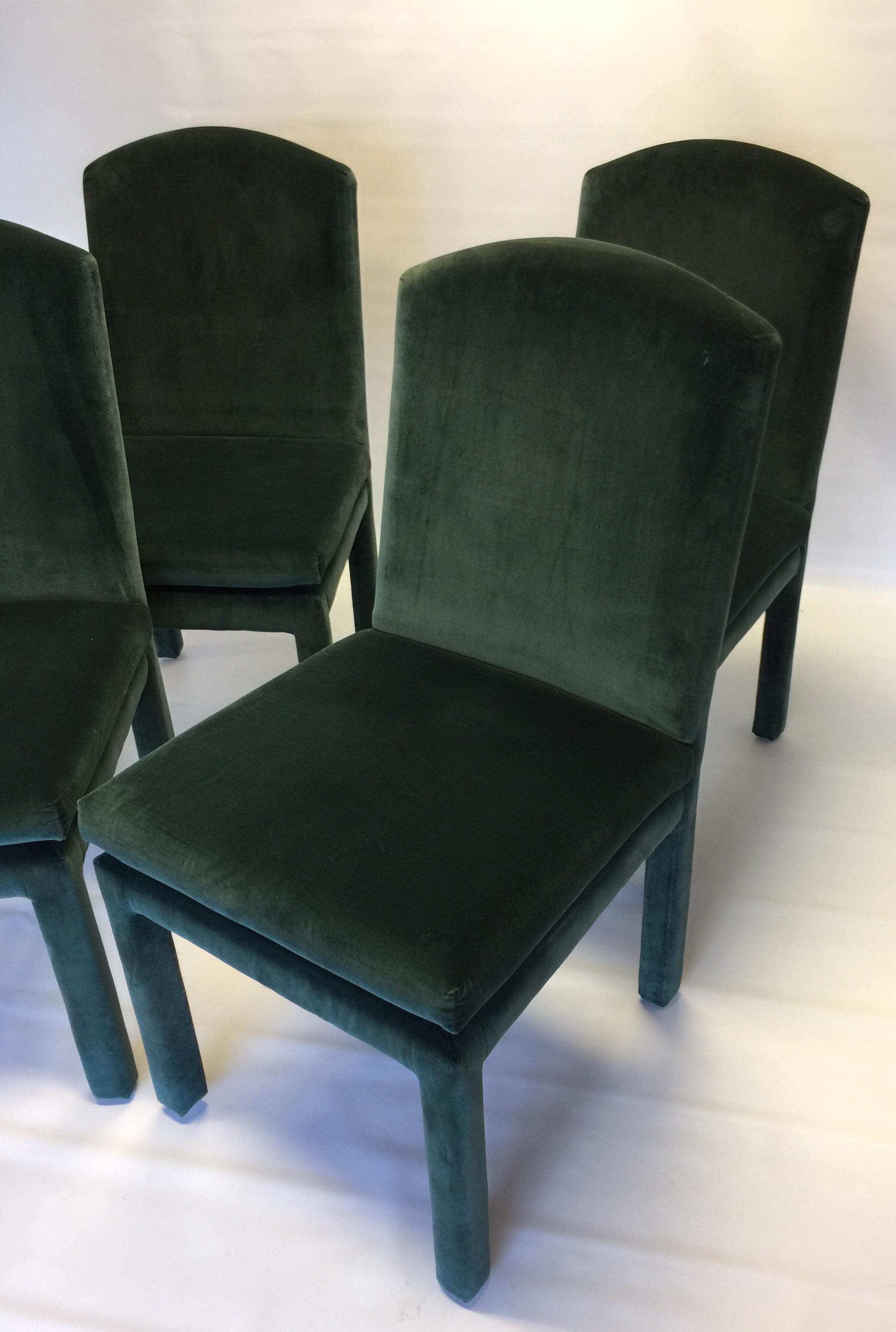 Hollywood Regency Milo Baughman Emerald Green Jewel Tone Velvet Dining  Chairs   Set Of 4 For