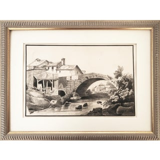 1847 French Country Landscape Drawing For Sale