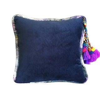 Navy / Bryony Storm Dorian Velvet Throw Pillow For Sale