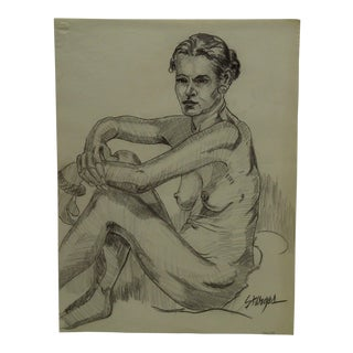 """""""Crossed Arms Nude"""" Original Drawing on Paper"""