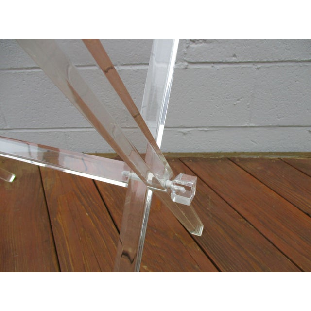 Transparent Mid-Century Modern Lucite Folding Luggage Rack For Sale - Image 8 of 9