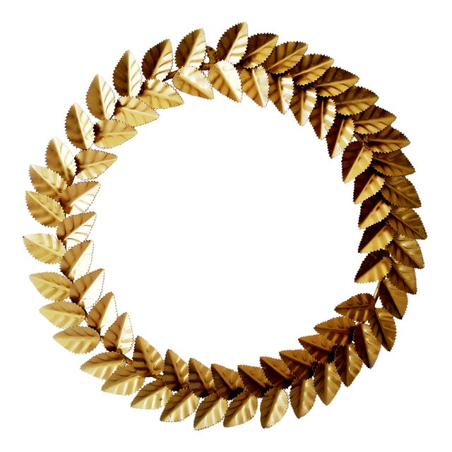Modern Metallic Gold Leaf Round Christmas Wreath For Sale - Image 6 of 6