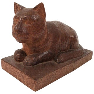 Folk Art Hand Carved Wood Cat Sculpture For Sale