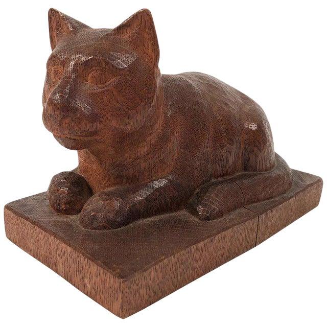 Folk Art Hand Carved Wood Cat Sculpture For Sale