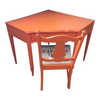 Mid 20th Century French Provincial Orange Wood Corner Desk and Chair - Set of 2 For Sale