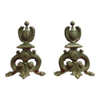 Antique Brass Paw Foot Andirons - A Pair For Sale