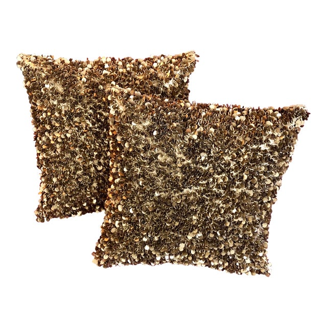 Contemporary Bougainvillea Brown and Copper Sequin Pillows - a Pair For Sale