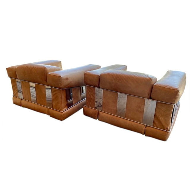 Adrian Pearsall Adrian Pearsall Leather Arm Chairs - a Pair For Sale - Image 4 of 7