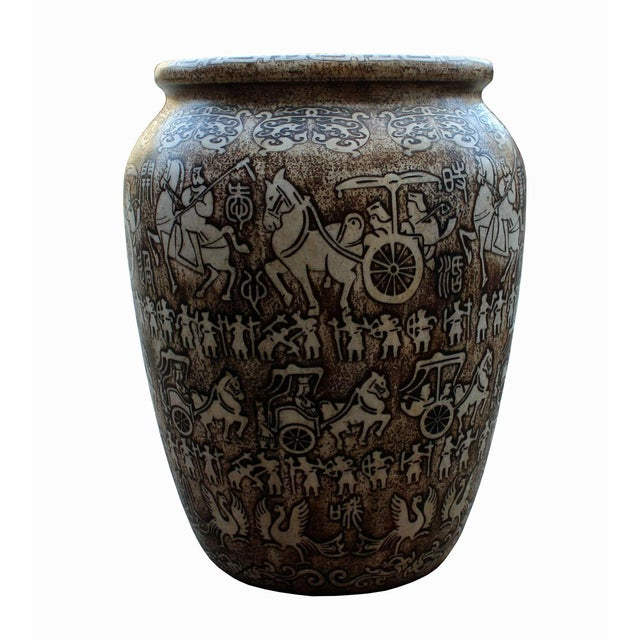 Chinese Oriental Stone Carved Planter For Sale - Image 5 of 8