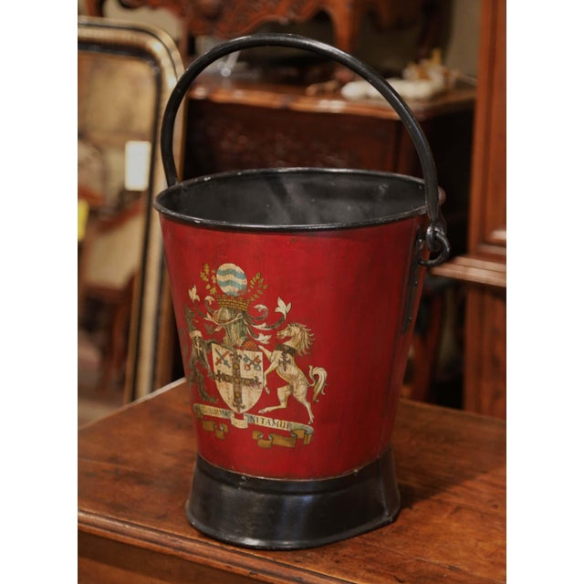 Red 19th Century French Black and Red Iron Coal Basket With Decorative Painted Decor For Sale - Image 8 of 11