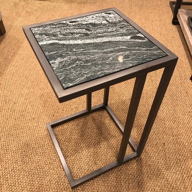 Contemporary Contemporary Alder & Tweed Marble Top End Table For Sale - Image 3 of 5