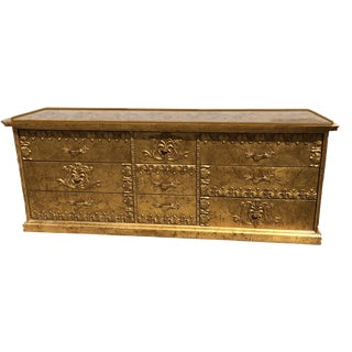 1960s Hollywood Regency Custom Made Gilt Oak Style 9 Drawer Chest For Sale