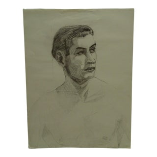 "1950 Mid-Century Modern Original Drawing on Paper, ""Sexy Male Profile"" by Tom Sturges Jr. For Sale"