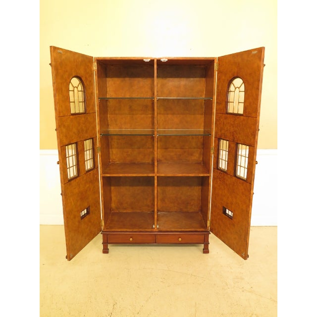 Maitland - Smith Maitland Smith Leather Wrapped House Form China Cabinet For Sale - Image 4 of 13