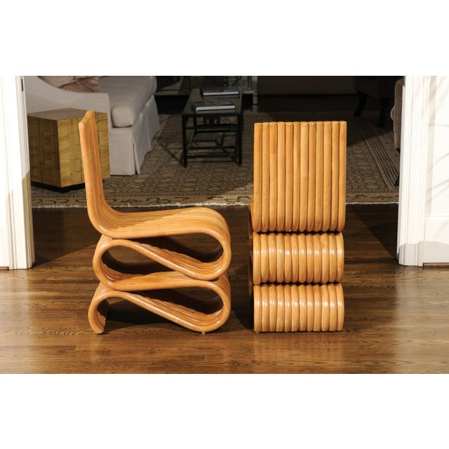 Exquisite Set of 8 Radiant Custom-Made Rattan Dining Chairs, Circa 1995 For Sale - Image 9 of 13