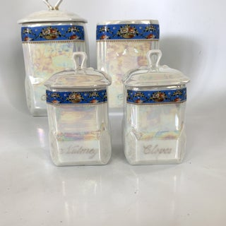 Art Nouveau Victoria Czech Slovakia Luster Ware Canisters Jars Iridescent Set Preview