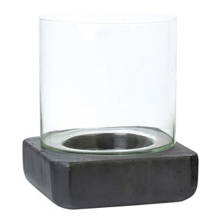 Charcoal Cement & Glass Candle Holder For Sale