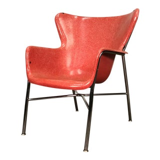Mid-Century Modern Fiberglass Wingback Shell Chair ~ Style of Lawrence Peabody For Sale