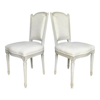 French Side Chairs in Swedish Paint and Linen, 19th Century For Sale