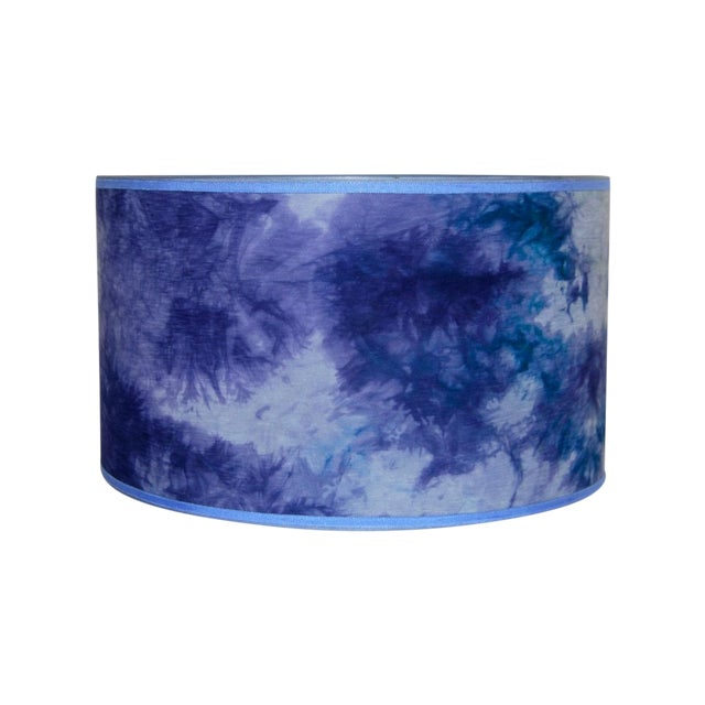 Blue Hand Dyed Fabric Lampshade - Image 1 of 5