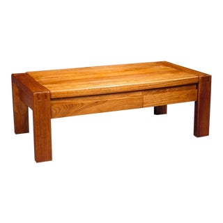 Pierre Chapo Rectangular Oak Coffee Table For Sale