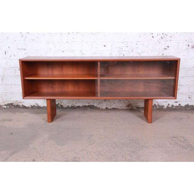 Svend Aage Larsen for Faarup Danish Modern Teak Glass Front Bookcase or Credenza For Sale In South Bend - Image 6 of 11