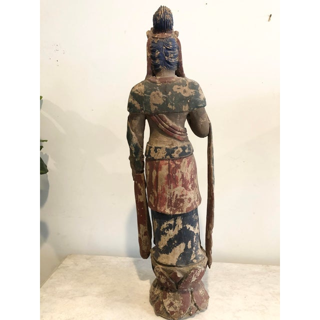 Late 19th Century Antique Buddhist Carved Wood Guanyin Figure For Sale - Image 5 of 7